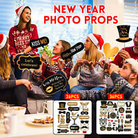 Happy New Year 2020 Banner Photo Booth Prop Mask Moustache Christmas Part y