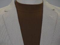 Mens Seersucker Suit RENOIR Cotton Stripe Casual Two Button Slim Fit  804-11 Tan