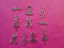 Tibetan Silver Mixed Ballerina/Dance Themed Charms 10 per pack