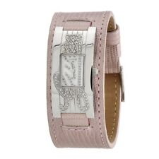 New Authentic GUESS W80055L4  Silvertone Stainless Case Pink Leather Strap Watch