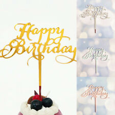 Happy Birthday Acrylic Cake Topper Decor Silver Gold Black Party Decoration HOT