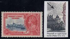 "Gilbert & Ellice Islands, SG 37d, MNH ""Flagstaff on Right Hand Turret"" variety"