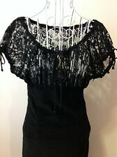 WHEELS AND DOLLBABY Gothic Pin Up Lace and Velvet dress Sz 2