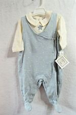 New Boys Lullaby Club Blue Overalls Outfit Set Size 0-3 months