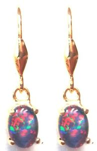 Birth Stone Natural Black Triplet Opal Earring With 925 Solid Silver Set 6.58cts