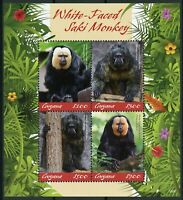Guyana 2019 MNH White-Faced Saki Monkey 4v M/S Monkeys Wild Animals Stamps
