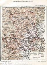 Provincia di Torino nel 1891,con Aosta.Carta Geografica.Piemonte.Cromolitografia