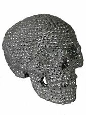 Silver Studded Skeleton Head Skull Ornament Figurine Faux Diamante Glamour Lush
