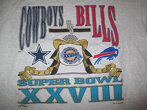 1994 DALLAS COWBOYS vs BUFFALO BILLS Super Bowl XXVIII Embroidered (LG) T-Shirt
