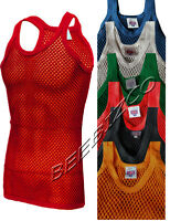 New Mens 100% Cotton Fishnet Mesh String Vest Tank Top Colours Or Rasta S - XL