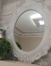 Wandspiegel Barockspiegel 58x45 Cm Weiß Holz Shabby Oval Barock Spiegel  Landhaus