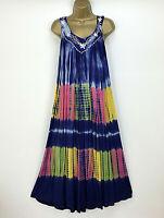 Cashewnut Beach Midi Maxi Dress Size UK 14 16 18 Blue Rainbow Lagenlook Tie-Dye