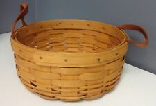 LONGABERGER 1997 Vintage Tan Woven Wood Wicker Round Leather Handle Basket SR