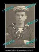 OLD 6 X 4 HISTORIC AUSTRALIAN NAVY PHOTO OF THE HMAS PROTECTOR SAILORS c1917