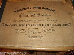 Lancashire Union Railways plan 1864  St Helens Wigan  Chorley & Blackburn