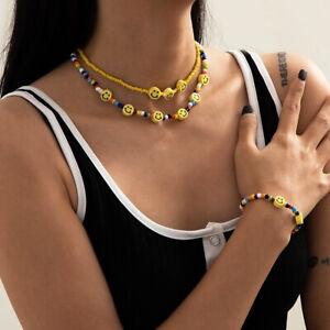 Smiley face smile colourful rainbow beaded 2 x necklace + bracelet set UK