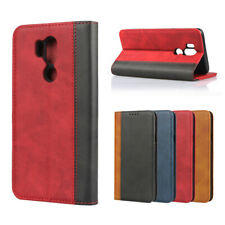 For LG G7 ThinQ Luxury Magnetic Two-tone Leather Wallet Flip Case Cover