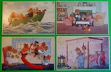4 Original Vintage Anthropomorphic Dressed Bears Postcards-Artist Tempset-Medici