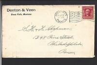 GREAT FALLS, MONTANA 1906 COVER  FLAG CL. ADVT. DENTON &VEEN. CASCADE 1884/OP.