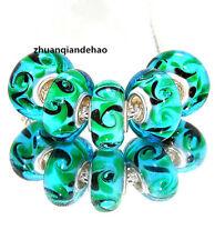 5pcs MURANO Lampwork charm Beads fit 925 silver European Bracelet Chain a1001
