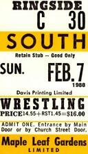 WWF WRESTLING - VINTAGE TICKET TORONTO Feb. 7th, 1988 Maple Leaf Gardens