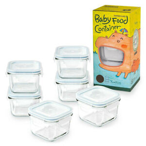 6pc Glasslock 210ml Baby Food/Veggie/Snacks Clear/Glass Container/Storage Square