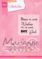 Marianne Design Collectables Dies and Stamp Set ~ Birthday, COL1349 ~ NIP