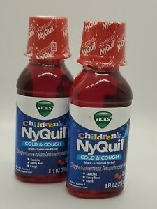 2 Children's NYQUIL Cold Cough Sneezing Runny Nose Relief Cherry 8 oz EXP 11/21