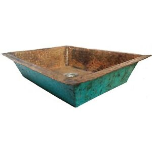 Green Patina Aged Exterior Copper Undermount Sink Rectangle Design Lavatory