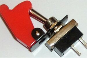 On/Off Toggle Switch  & AIRCRAFT Style   FLIP  COVER- RED