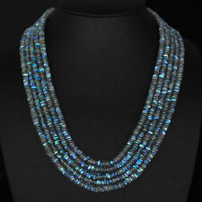 520.60 CTS NATURAL 5 STRAND RICH BLUE FLASH LABRADORITE ROUND BEADS NECKLACE