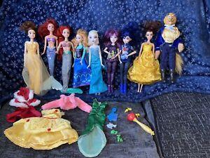 Bundle Of 9 Disney Dolls With Accessories Descendants Ariel Frozen Belle Etc