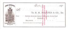 "1879 Boston MA, ""The Boston Herald"" Newspaper Billhead, Vignette of Herald Bldg"