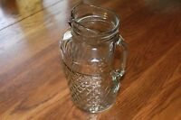 "Vintage Ice Tea Pitcher Clear Glass Diamonds pattern ,9"" tall"