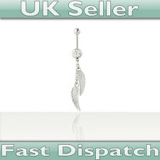 Two Feather Dangle Belly Bar - UK Seller - Fast Dispatch! Twin feathered