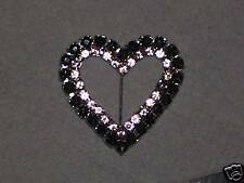 HEART SHAPED BROOCH WITH CLEAR and BLACK DIAMANTES