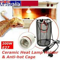 AC 220V 200W Reptile Ceramic Heat Lamp Holder +  Light Switch + Anti-Hot Cage