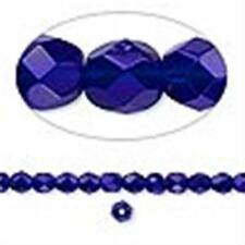 4mm Cobalt Blue Faceted Round Fire Polished Czech Glass Beads 100 Preciosa