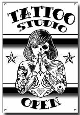 Tätowierung Studio offenes Metallschild, Tattoos, Tinte Kunst, Geschäft, Stechen