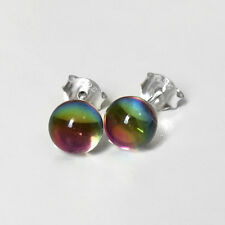 925 Sterling Silver Vitrail Crystal Ball Crystal Colors Stud Earrings Fashion