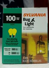 (2-Pack) 100W YELLOW Insect BUG LIGHT bulbs SYLVANIA A19 - DIMMABLE