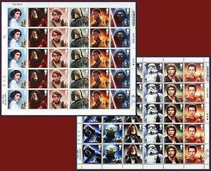 NEW 2015 Star Wars 1st Class 2 x Complete Commemorative Stamp Sheets *