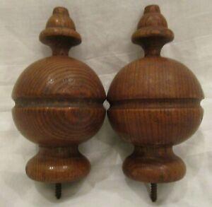 "Antique Pair Finials Oak Wood 4.5"" Long x 2.25"" Diameter Furniture, Bed or Clock"