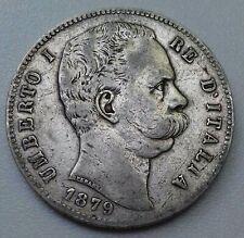 Italie . 5 Lire 1879 UMBERTO I argent/silver