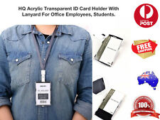 High Quality Acrylic Transparent ID Badge Card Holder with Lanyard,For $10AUPOST