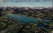 Der Bodensee Color Panoramakarte 1935 gelaufen mit Alpen Poststempel Konstanz