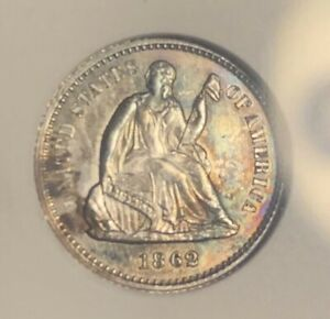 1862 ~ AMAZING ~ Seated Liberty H10c old ANACS MS61 ~ Rainbow COLOR Toned Luster