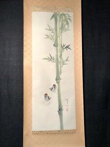 Rollbild ANTIK Kakejiku Japan Bambus Spatzen Sperlinge handgemalt signiert