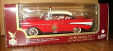 1957 Chevy Bel Air FIRE CHIEF Car & Display Stand 1:18 Red Yat Ming Die Cast Toy