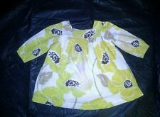 GIRLS YELLOW CREAM AND BROWN  FLORAL TOP  BY GAP AGE 6-12 MONTHS FULLY LINED
